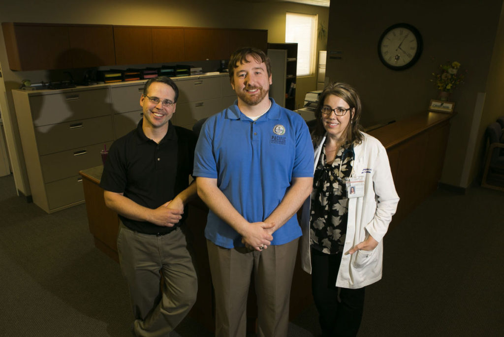 Pacific University of Health Sciences graduates (l-r) Sam Hirtle, Vaughan Bulfinch and Corinne Glassgow are finishing their residency program at Central Washington Family Medicine. Bulfinch and Glassgow will stay and practice medicine in the Yakima area while Hirtle will move to Medford, Ore. to practice (Photo courtesy of MASON TRINCA/Yakima Herald-Republic)